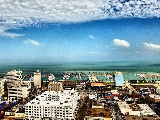 View of the bay from Wilson Plaza penthouse. #cc #cctx