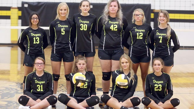 BUNCETON VOLLEYBALL TEAM (front row, left to right) Kelcey Mullett, Madison Brown, Kylee Myers and Hailey Milne. (back row, left to right) Bella Vaca, Madelynn Myers, Kaelyn Crews, Maddie Brandes, Alyssa Welch and Alexia Hein.