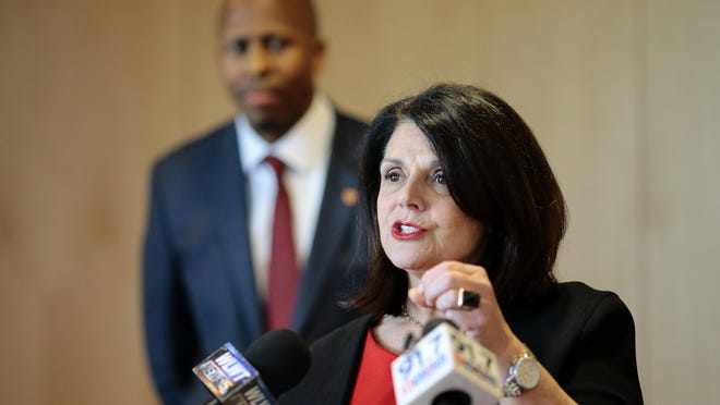 Dr. Beverly Davenport speaks at a news conference announcing her appointment as interim president of the University of Cincinnati on Monday afternoon.