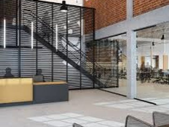 The lobby of computing-education center Galvanize.