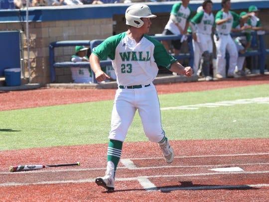 Wall High School's Gage Weishuhn scores a run against