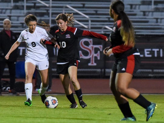 South Fork's Crystal Hagberg (9) and Vero Beach's Madelaine Rhodes (10) are two of the most prolific goal-scorers on the Treasure Coast this season.