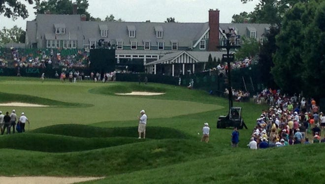 The 18th at Oakmont on Wednesday.