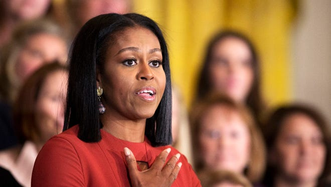 Michelle Obama gives her final speech as first lady at the 2017 School Counselor of the Year ceremony in the East Room of the White House on Jan. 6