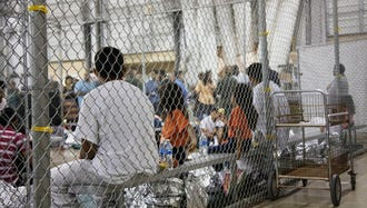 Immigrant families in a detention facility in McAllen, Texas.