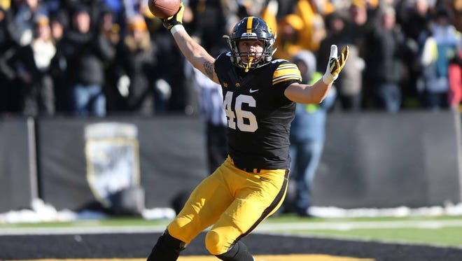 Iowa tight end George Kittle, celebrating a touchdown against Purdue last season, is on the Mackey Award watch list.