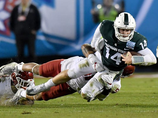 Michigan State quarterback Brian Lewerke earned Big