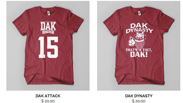 Mississippi State quarterback Dak Prescott is suing a t-shirt printing company for using his likeness.