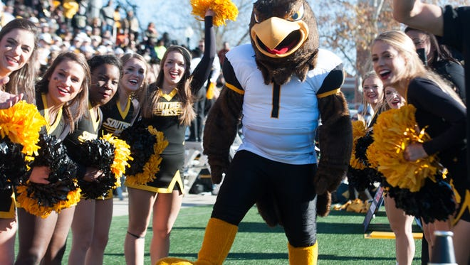 Dec 5, 2015; Bowling Green, KY, USA; Southern Miss Golden Eagles mascot and cheerleaders perform during the second half of the Conference USA football championship game against Western Kentucky Hilltoppers at Houchens Industries-L.T. Smith Stadium. Western Kentucky Hilltoppers won 45-28. Mandatory Credit: Joshua Lindsey-USA TODAY Sports