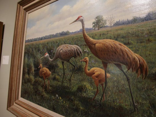 """""""Sandhill Cranes With Young"""" by noted bird artist Owen Gromme is one of the paintings on display at the recently added wing to the Woodson Art Museum in Wausau which houses the permanent collection, """"Owen J. Gromme, An Enduring Legacy."""" Photo taken Tuesday, September 4, 2012."""