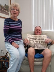 Lynne and Denny Straley in the living room of their