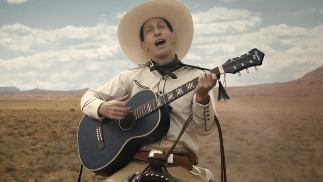 "This image released by Netflix shows Tim Blake Nelson as Buster Scruggs in a scene from ""The Ballad of Buster Scruggs,"" a film by Joel and Ethan Coen."