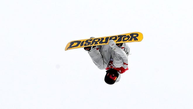 Kyle Mack of the USA competes in the men's snowboard big air final.