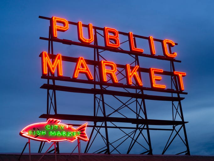 City Fish Public Market Neon Sign Seattle Washington