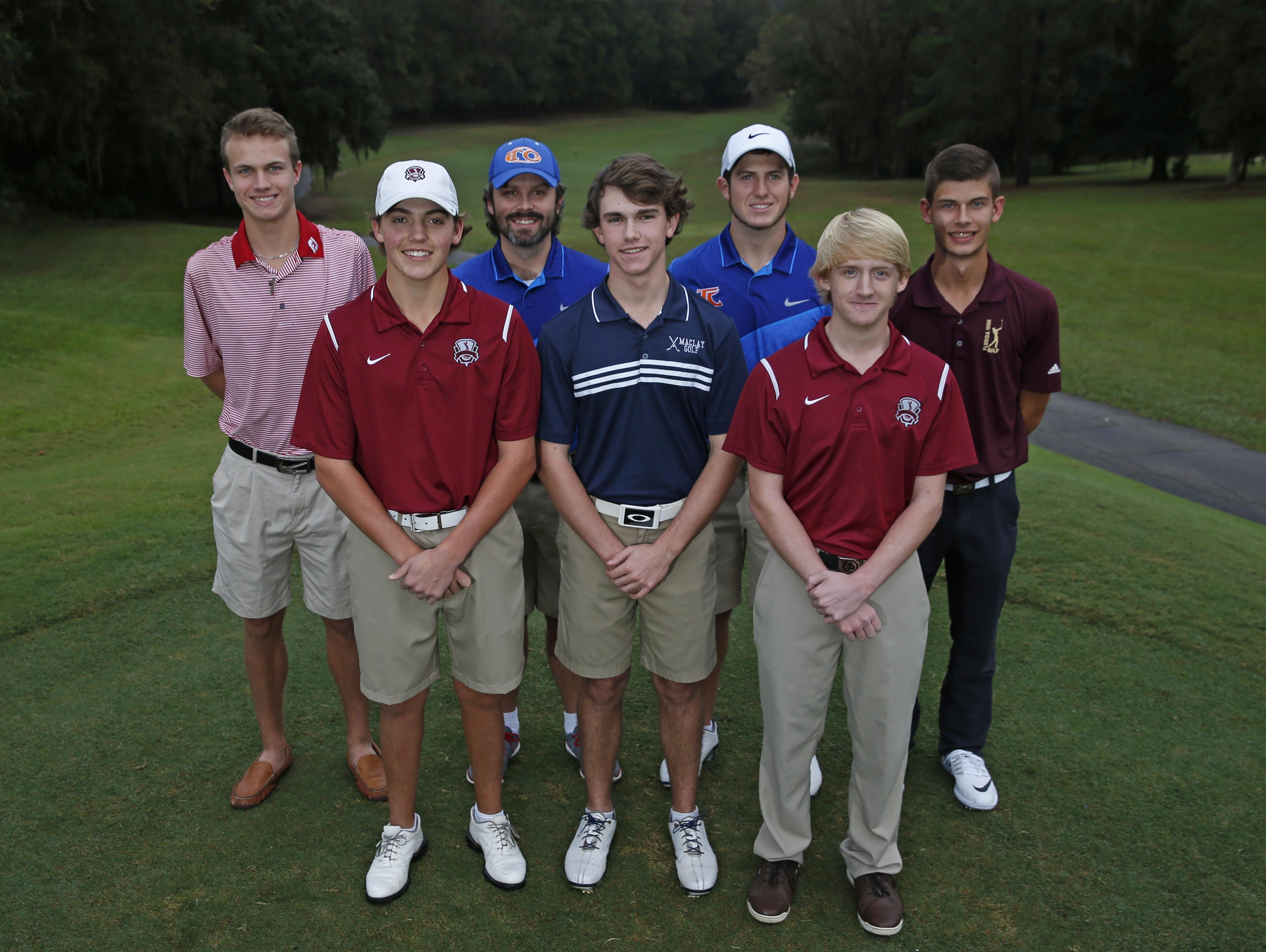 The 2015 All-Big Bend boys golf first team. Front row, from left: Connor Futrell (Chiles), Bryson Bianco (Maclay), Bryce Johnson (Chiles); Back row, from left: Jordan Jones (Leon), Coach of the Year John Carson (Taylor County), Player of the Year Cole Wentworth (Taylor County), Stephen Davis (Florida High)