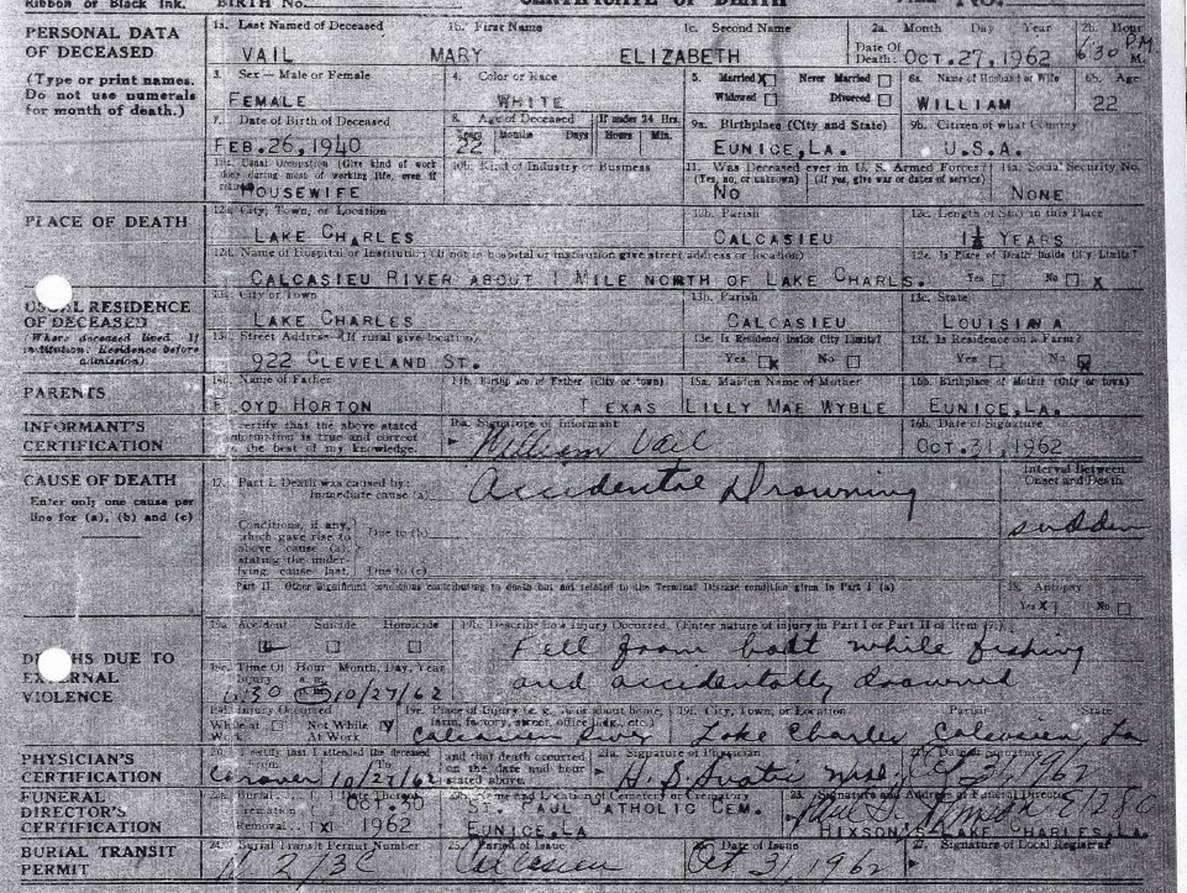 Mary Horton Vail's death certificate has multiple errors,