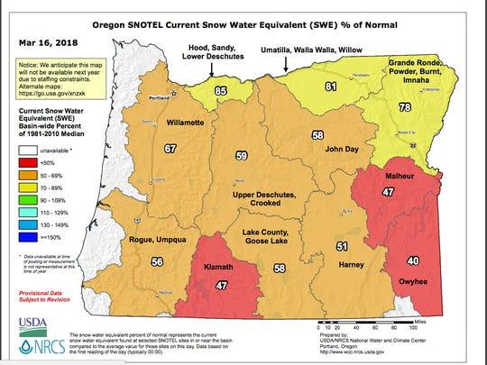 Oregon snowpack map.
