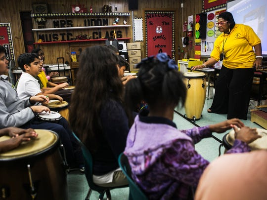 "Ernestine Odom instructs her students during music class Sept. 27, 2017, at Montgomery Elementary School in Houston. Fifty years ago, Odom and her coed choir from Prairie View A&M performed Randall Thompson's ""Alleluia"" for Dr. Martin Luther King Jr. at the Lorraine Motel. A little over two weeks later the civil rights leader would be killed by an assassin at the motel."