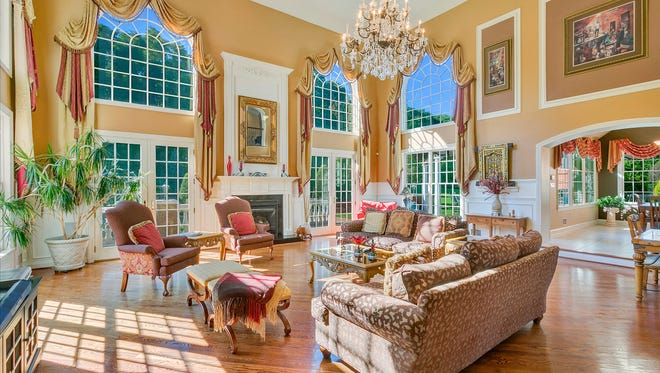 The living room at 27 Hillcrest Drive in Colts Neck.