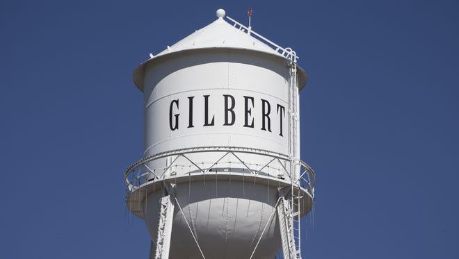 The Gilbert water tower, October 28, 2014, Gilbert, Arizona.