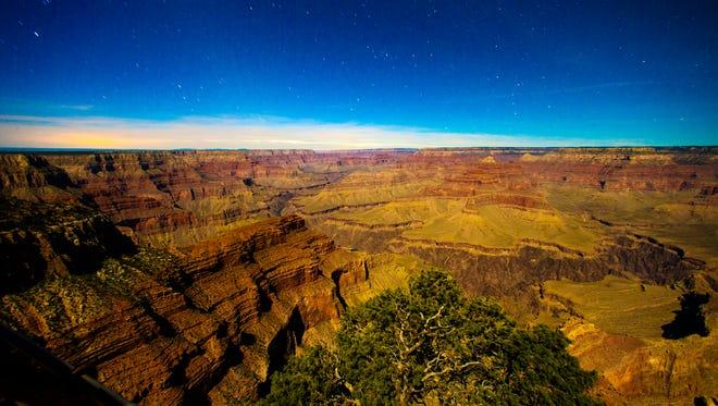 Moonlight illuminates the Grand Canyon on April 29, 2015.