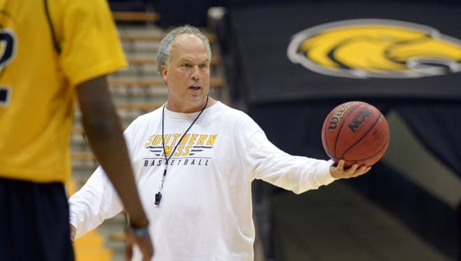 Southern Miss men's basketball coach Doc Sadler leads the Golden Eagles in practice at Reed Green Coliseum Tuesday, Oct. 20.