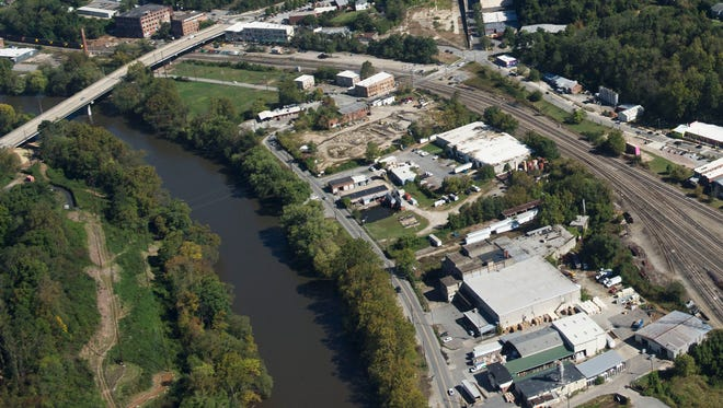 Lyman Street runs through the River Arts District in Asheville in this aerial photo.