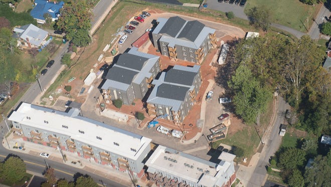 New housing units are being built in West Asheville off Haywood Road in this aerial photo.
