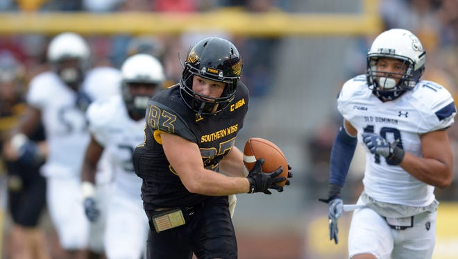 Southern Miss wide receiver Casey Martin catches a pass Saturday during USM's win against Old Dominion. The Golden Eagles play Louisiana Tech this week for the C-USA West championship.