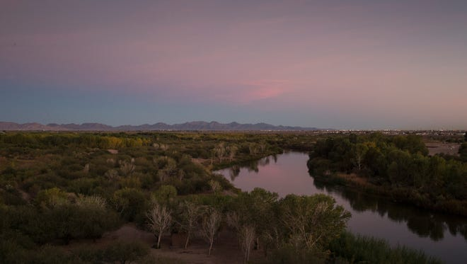 The Colorado River flows through the Yuma East Wetlands Restoration Project, where a partnership of municipal, federal and tribal governments is recovering a small portion of the lower river's former cottonwood and willow forests.