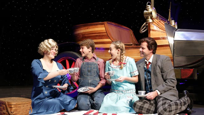 """""""Chitty Chitty Bang Bang,"""" runs Nov. 27 through Dec. 20 at the Des Moines Community Playhouse, featuring (from left) Dani Boal as Truly Scrumptious, Will Donaghy as Jeremy Potts, Allison Koch as Jemima Potts, and Brandon John Lee as Caractacus Potts."""