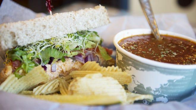 A pimento cheese sandwich with Farmhouse tomato soup at Loretta's Cafe.
