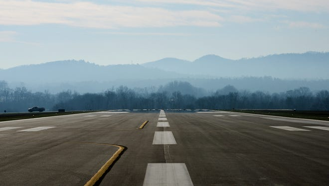 Members of the Greater Regional Airport Authority Board presented the new temporary runway at the Asheville Regional Airport to members of the press on Wednesday. The runway is fully functional but will only be used in the interim period while the current runway is being redone.