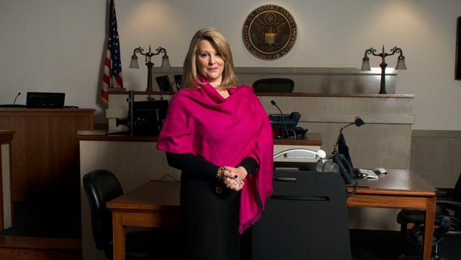 Veteran federal prosecutor Jill Rose, of Asheville, is photographed in the magistrate courtroom in the downtown Federal Building.