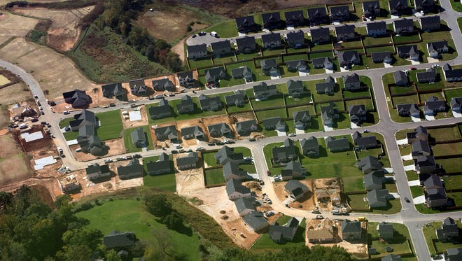 New homes are under construction in Mills River in this October 2015 aerial photo.