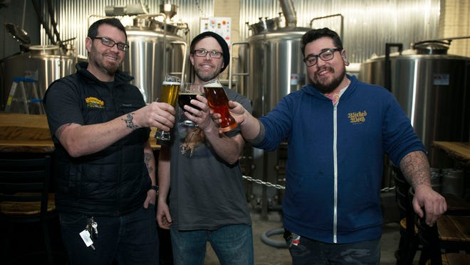 From left Joshua Bailey, Josh Dillard and Gary Sernack are the brains behind Bhramari Brewhouse, downtown Asheville's newest brewery located at 101 S. Lexington Ave just behind the Orange Peel.