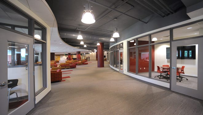 The Corbett Center Student Union second-floor common area stands nearly complete on July 24, 2015, after many months of renovation and remodeling.