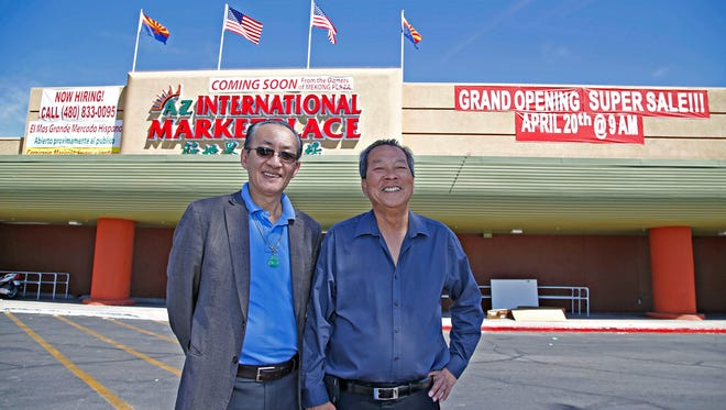 Jim Lai and Peter Quach, co-owners of the AZ International Marketplace, and the Mekong Plaza in Mesa on April 14, 2016.