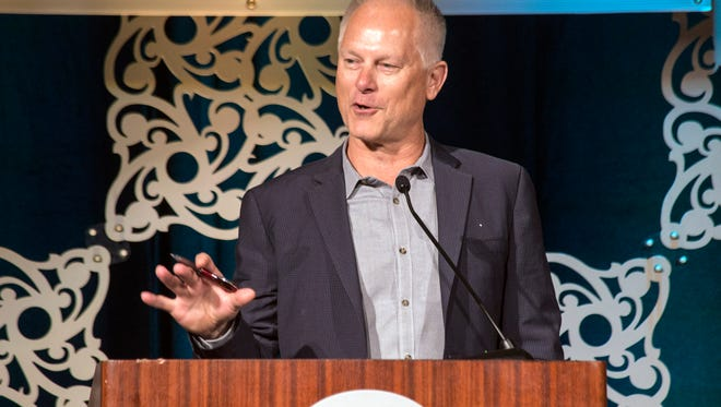 Guest speaker Kenny Mayne spoke about his love of horseracing during the 2016 They're Off! Luncheon on Friday at The Galt House. 4/22/16