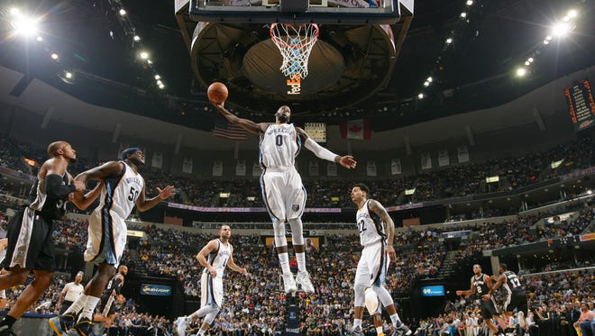 JaMychal Green #0 of the Memphis Grizzlies grabs the rebound against the San Antonio Spurs in Game Three of the Western Conference Quarterfinals of the 2016 NBA Playoffs on April 22,