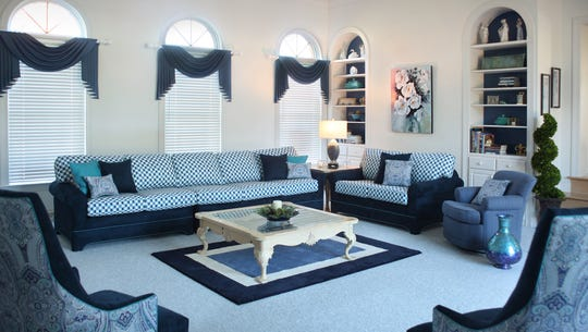 A favorite couch re-upholstered in an updated fabric