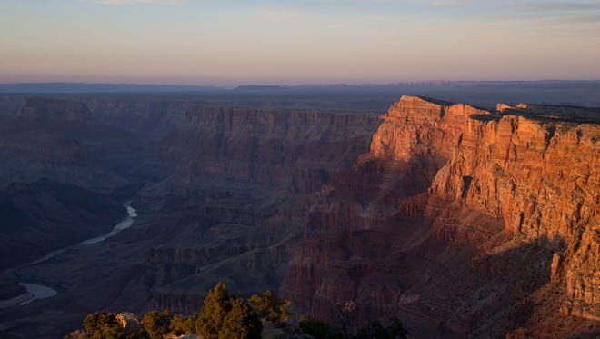 The Colorado River winds through the Grand Canyon, February 19, 2016, near the Desert View Watchtower, Arizona.