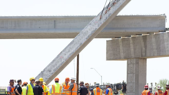 The scene of a girder collapse on an overpass construction project, June 9, 2016, at Bell Road and Grand Avenue, Surprise, Arizona.
