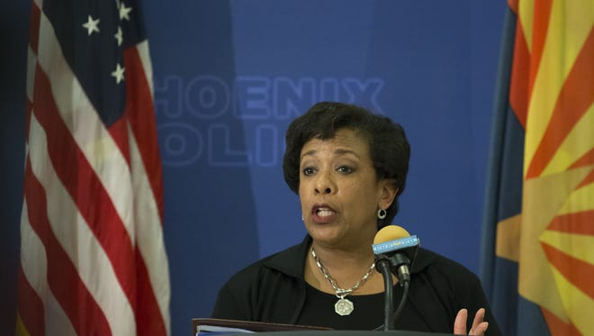 Attorney General Loretta E. Lynch answers questions June 28, 2016, during her visit to the Arizona Law Enforcement Academy in Phoenix.