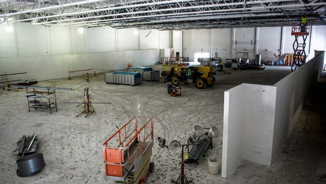 Interior work is underway Thursday, June 30, 2016 at SC4 Fieldhouse in Port Huron. The fieldhouse is expected to have a grand opening on Oct. 3.