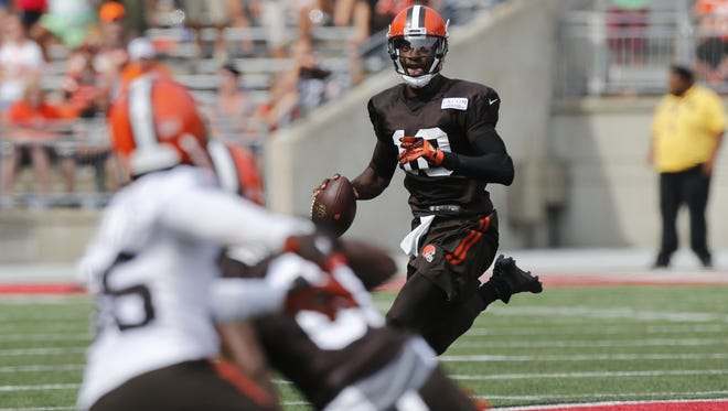 Jay LaPrete/AP Robert Griffin III was named the Browns? starting quarterback. Cleveland Browns quarterback Robert Griffin III plays in their orange and brown scrimmage at the NFL football team's training camp Saturday, Aug. 6, 2016, in Columbus, Ohio. (AP Photo/Jay LaPrete)