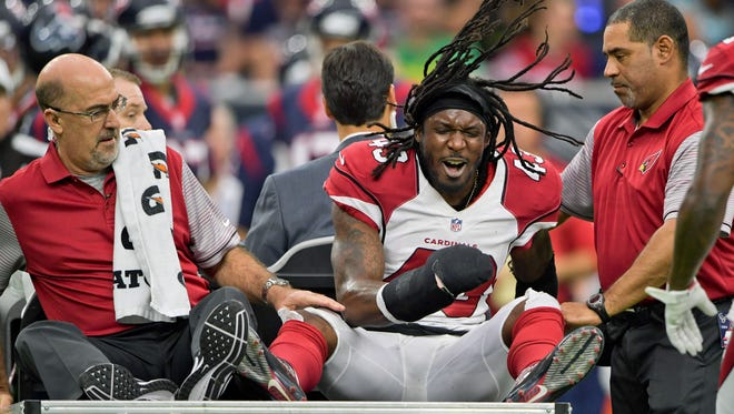 Arizona Cardinals defensive back Mike Jenkins (43) reacts after being  injured during the first half against the Houston Texans at NRG Stadium.