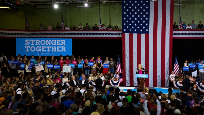 Democratic presidential nominee Hillary Clinton speaks at a campaign rally at the University of South Florida in Tampa on Tuesday, Sept. 6, 2016.