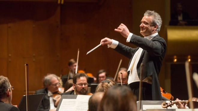 Louis Langrée, shown conducting the Cincinnati Symphony Orchestra in January in David Geffen Hall at Lincoln Center, will be leading the CSO on their first international tours together.  PHOTO CREDIT - Richard Termine