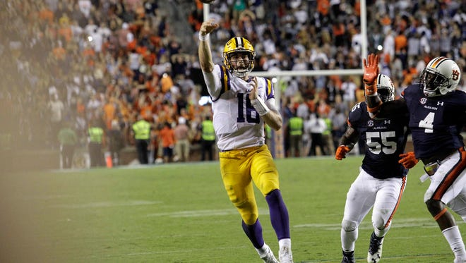 Sep 24, 2016; Auburn, AL, USA;  LSU Tigers quarterback Danny Etling (16) throws a pass that was thought to be the game winning touchdown against the Auburn Tigers at Jordan Hare Stadium.  The play was later overturned and  the Auburn Tigers beat the LSU Tigers 18-13. Mandatory Credit: John Reed-USA TODAY Sports
